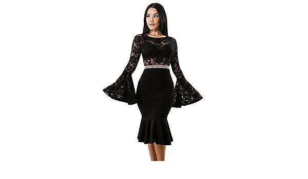 Vestidos de Fiesta de Noche Elegantes De Mujer Encaje Casuales Largos Pegados Al Cuerpo at Amazon Womens Clothing store: