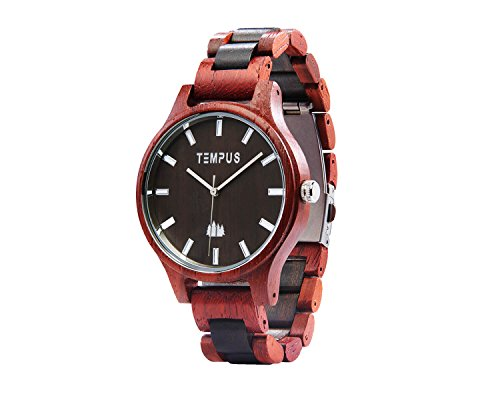 TEMPUS Classico - Two Tone Rosewood Black Sandalwood Men's Wood Wooden Watch - TWW-02 -Gift for Men