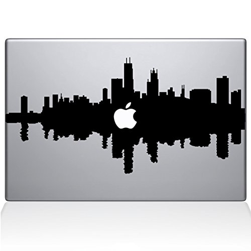 "Price comparison product image The Decal Guru Chicago City Skyline Decal Vinyl Sticker, 13"" MacBook Pro (2015 & Older Models), Black (2327-MAC-13P-BLA)"
