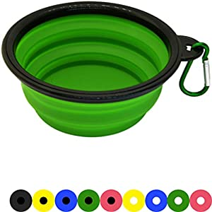 Zenify Dog Bowl – 400ml Collapsible Foldable Food and Water Feeder Dish – Portable Travel Leash Lead Slim Accessories… Click on image for further info.
