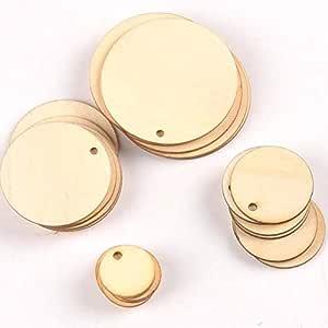 amazon com 50pcs mix round shape natural wooden ornament