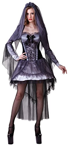 Ladies Sexy Dead Zombie Dark Corpse Bride Divorce Halloween Party Fancy Dress Costume Outfit UK 10-12-14 (One Size (UK 10-14))]()