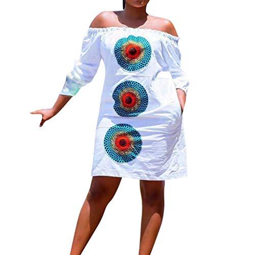 BB67 Women Beach Dress, Off The Shoulder Half Sleeve Print Summer Simple Dress ()