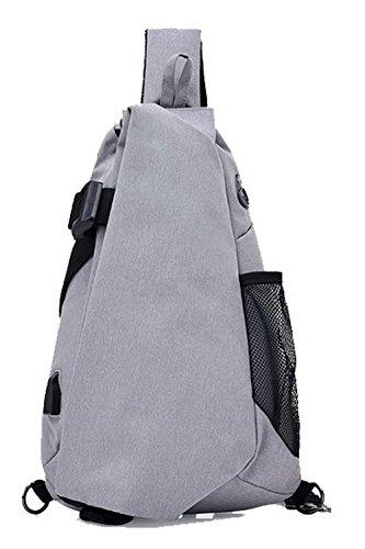 AllhqFashion Femme Zippers Sacs à bandoulière Mode Fête Dacron Cartable, Bleu Gris