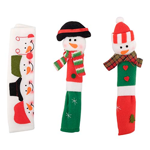 AHUA Snowman Kitchen Appliance Handle Covers- 3 Piece Cover Set For Christmas Decorations & Decor - Decorative Set Fits Kitchen Refrigerator Microwave Oven Or Dishwasher Door For The Holiday Season