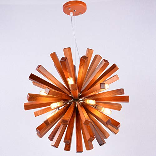 Creative Chandeliers Solid Wooden Pendant Hanging Light Fixture Shericlal Dandelion Ceilling Hanging Lamp Artichoke Lamps for Restaurant,Kitchen Island,Dining Room and Bedroom