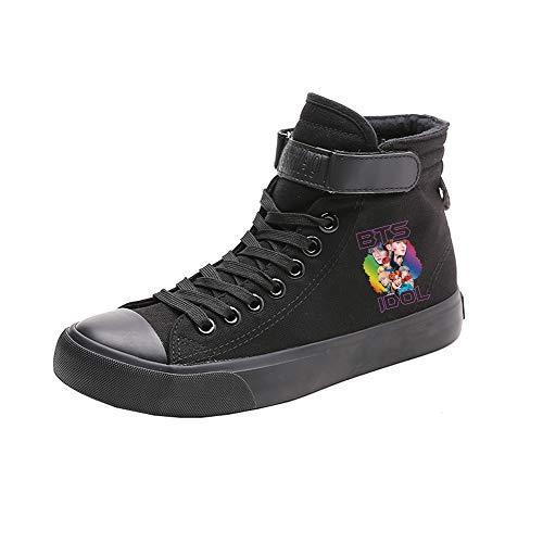 Popular De Cordones Zapatos Con Spring Alta Bts Transpirables Lona Black01 Pareja Ayuda Fashion 5q6TSnw