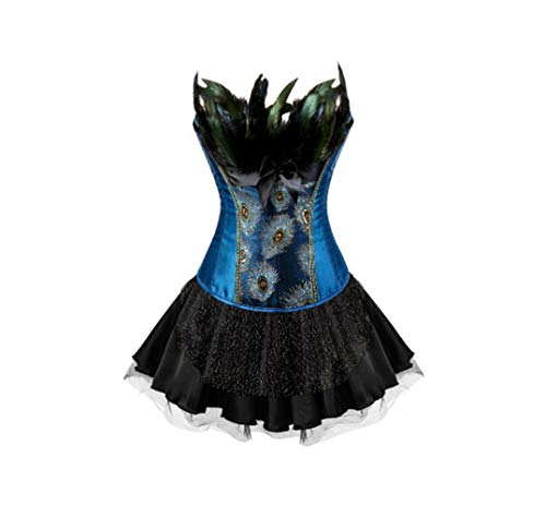 Women Overbust Bustier Sexy Embroidery Peacock Princess Corsets Dress Top with Mini Tutu Skirt