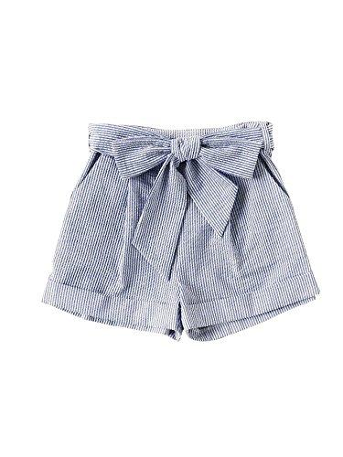 SweatyRocks Women's Casual Elastic Waist Striped Summer Beach Shorts with Pockets Blue#2 S (Shorts Para Mujer)