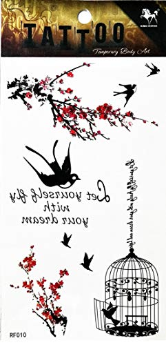 - PP TATTOO 1 Sheet Fashionable Temporary Tattoos for Women and Youth Waterproof Body Stickers Tree Sakura Bird Cage Sparrow Swallow Dove Fly Tattoo Stickers