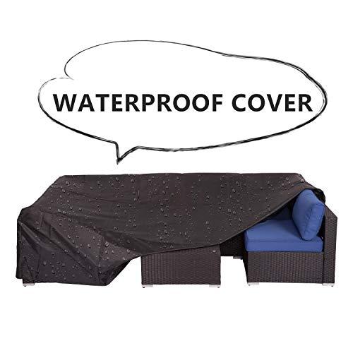 Peach Tree 7Pcs Wicker Rattan Sofa Weatherproof Protective Cover with Bag Black