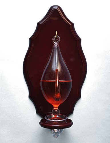 Hand Blown Weather Glass Barometer with Wooden Plaque and Drip Cup (Galileo Weather)