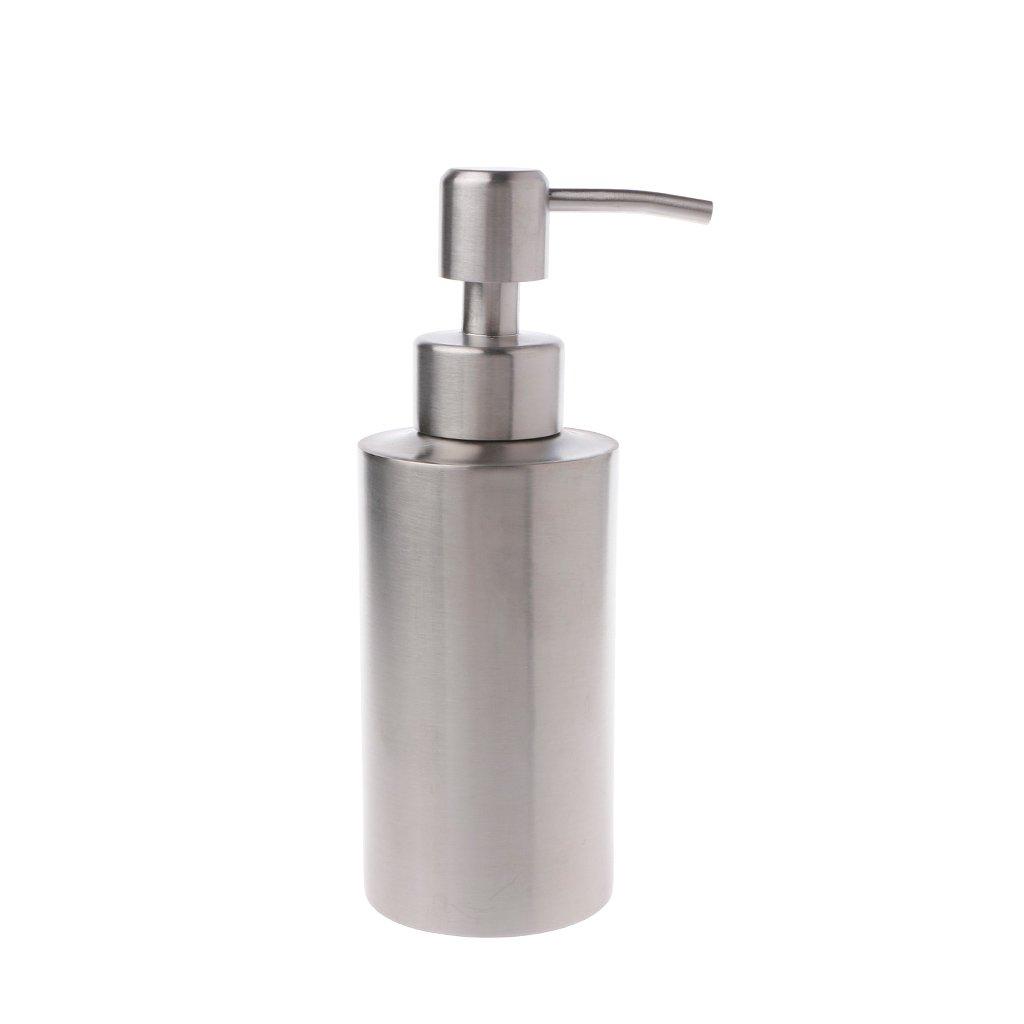 BetterM 304 Stainless Steel Liquid Soap Lotion Dispenser Bottle Pump for Kitchen Bathroom (250 ml)