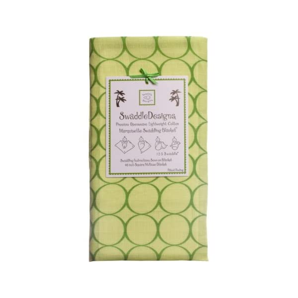 SwaddleDesigns Marquisette Swaddling Blanket, Premium Cotton Muslin, Pure Green Jewel Tone Mod Circles