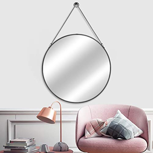 MORIGEM Round Mirror with Hanging Chain, 24 Large Wall Mirror, Black Metal Frame Circle Mirror, Modern Decorative Mirror for Bedroom, Bathroom, Living Room and More