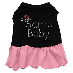 Mirage Pet Products Santa Baby Rhinestone 18-Inch Pet Dress, XX-Large, Black with Pink