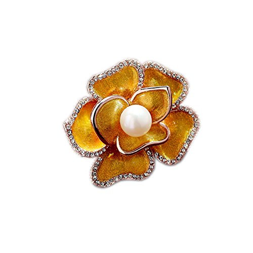 Fashion Jewelry Noble Cultured Pearl Colored Glaze Flower Brooch Pins with Swarovski Crystal for (Cultured Pearl Yellow Brooch)