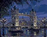 "FidgetFidget London Tower Bridge in Evening Beautiful 14CT Mono Deluxe 14"" X 18"""