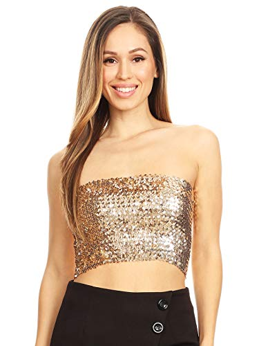 Anna-Kaci Womens Shiny Sequin Party Cropped Strapless Bandeau Stretch Tube Top, Champagne, Large/X-Large -