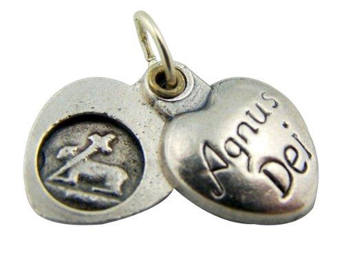 Religious Christian Gift 5 8 Inch Silver Gild Agnus Dei Lamb Of God Sliding Heart Medal Pendant Charm