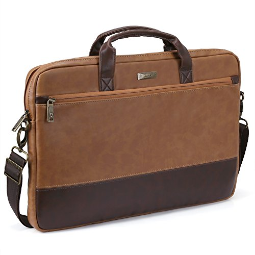 17.3 inch Laptop Shoulder Bag, Evecase PU Leather Modern Business Tote Briefcase Laptop Messenger Bag with Accessory Pockets ( Fits Up to 17.3-inch Macbook, Laptops, Ultrabooks) - Brown