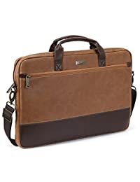 17.3 inch Laptop Shoulder Bag, Evecase Leather Modern Business Tote Briefcase Laptop Messenger Bag with Accessory Pockets ( Fits Up to 17.3-inch Macbook, Laptops, Ultrabooks) - Brown