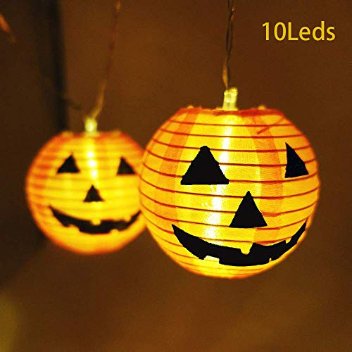 KARRYSUN Halloween Pumpkin String Lights, 10 LEDs DIY Lanterns Battery Powered Halloween Lights for Outdoor,Home,Patio,Garden Decoration (Warm White,5ft)