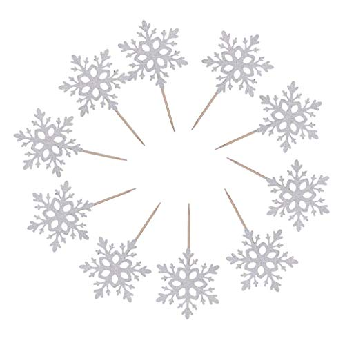 Seagold Handmade Christmas Snowflake Unicorn Horn Cupcake Toppers Picks for Events, Holiday, Home and Wedding Party Decor (Silver Snowflake Topper)]()