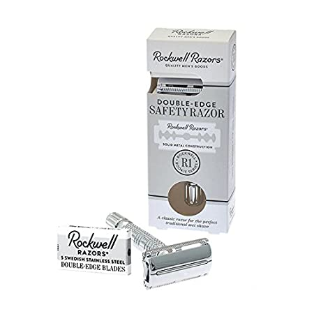 Amazon.com: Rockwell Razors R1 Double Edge Safety Razor in White Chrome, Butterfly Open + 5 Swedish Stainless Steel Razor Blades: Beauty