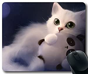 Art-Painting-White-Cat-And-Toy-Panda Mousepad,Rectangle Mouse Pad