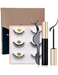 HSBCC Upgraded Magnetic Eyeliner and Lashes Magnetic Eyelashes Kit False Lashes 3 Style with Tweezers
