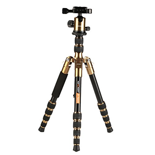 K&F Concept TM2235 DSLR Camera Tripod,50 inch Portable Travel Tripods Load Capacity 22.04 lbs with 360° Ball Head and Quick Release Plate (Gold)