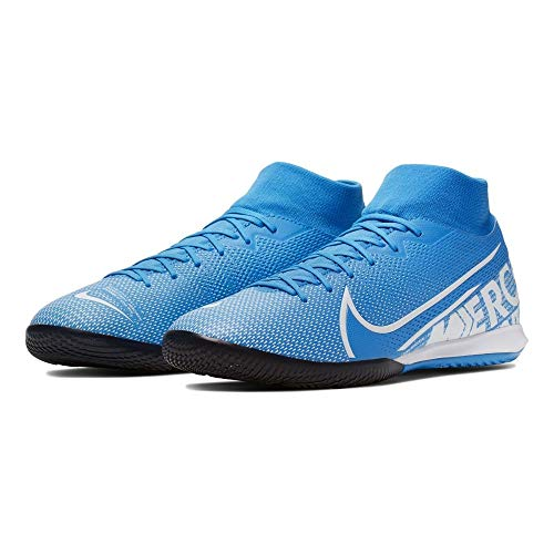 Mercurial Superfly 7 Academy IC Indoor Soccer Shoes- Blue/White (9.5) (Best Street Soccer Shoes)