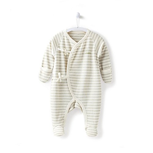 COBROO 100% Cotton Baby Footie Sleepers Pajamas with Mitten Cuffs Long Sleeves Ties Closure Baby Girl/Boy Outfits 0-3 Months Green