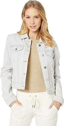 - Juicy Couture Women's Pink Pigment Distressed Denim Jacket Tinted Pink Wash Small