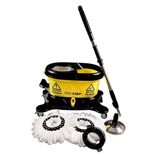 Cyclomop Heavy Duty Commerciële & industriële Spin Mop en Bucket set – 360° Roterende spinning Mops voor snelle, snelle…