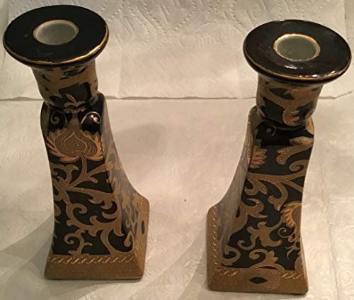 Lovely Amita Black Gold Scroll Decorative Candle Stick Holders