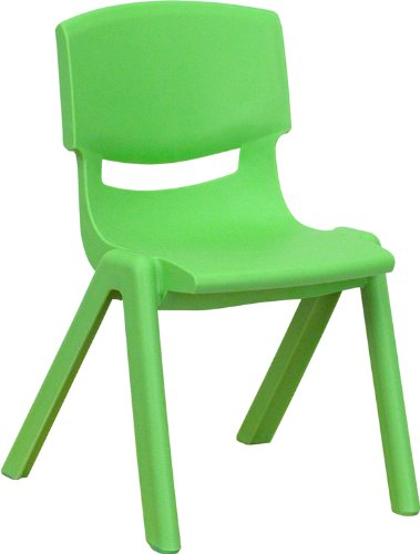 (Flash Furniture Green Plastic Stackable School Chair with 12'' Seat Height)