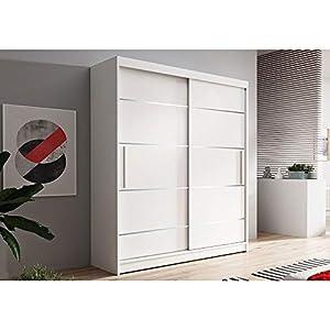 E-MEUBLES Armoire de Chambre avec 2 Portes coulissantes + eléments décoratif en aliminium | Penderie (Tringle) avec…