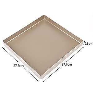 "Baking pan Stainless Steel Square Cake Pan Nonstick Baking Sheet Toaster Oven Pan Tray Ovenware Professional, 11"" x 11"""