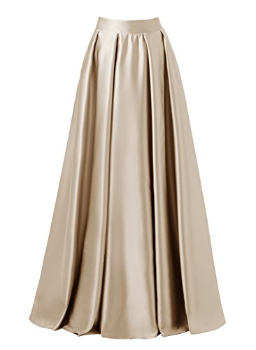 emondora Women High Waist Elastic Satin Flared Swing Maxi Skirt Pleat Prom Gown Champagne Size XL