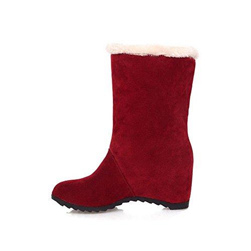 AllhqFashion Mujeres Sin cordones Tacón Medio Gamuza(Imitado) Sólido Caña Baja Botas Rojo