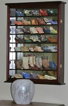 Wall Display Case Cabinet for Miniature Shoes, Miniatures Figurines, Wall Curio SC13 (Cherry Finish)