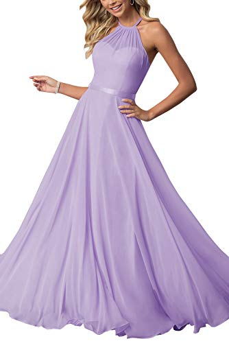 (Bridesmaid Dresses Long Halter Chiffon Aline Prom Formal Wedding Party Dress Womens Lilac 2)