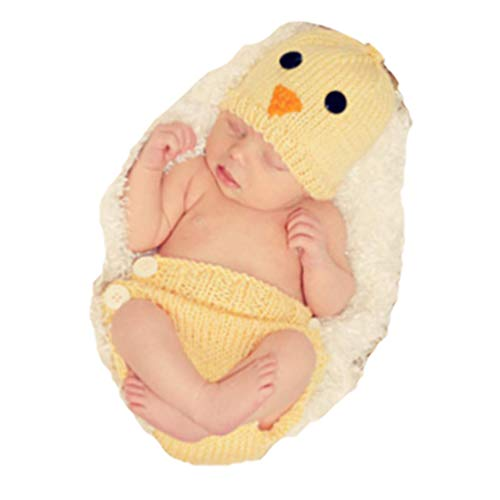 Fashion Newborn Baby Photography Props Boy Girls Photo Shoot Props Outfits Crochet Knitted Costume Unisex Cute Infant Hat Pants Set (Chick) (Crochet For Infant)