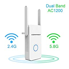 1200Mbps Dual Band WiFi Repeater Wireless Signal BoosterFunctionsWiFi Range Extender- Extend WiFi coverage of an existing wireless network.Wireless Access Point- Convert a wired network to a wireless network. Wireless Router- Create an instan...