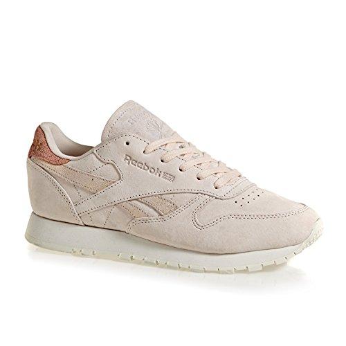 Reebok Damen Classic Leather Shimmer Gymnastikschuhe Rosa (rosa Pallido / Argento Opaco / Gesso 000)