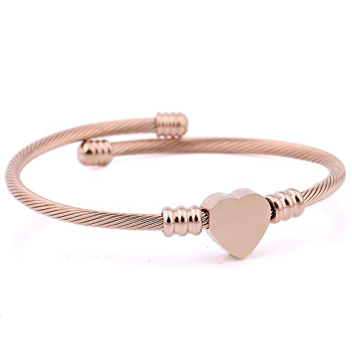 SalaWendy 3 Tone Women Heart Beaded Charm Stainless Steel Bracelet Cable Wire Stretch Quality Cuff Bangle (Rose gold)