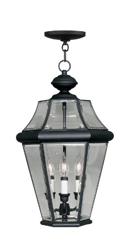 Outdoor Light Three Chain (Livex Lighting 2365-04 Georgetown 3-Light Outdoor Hanging Lantern, Black)