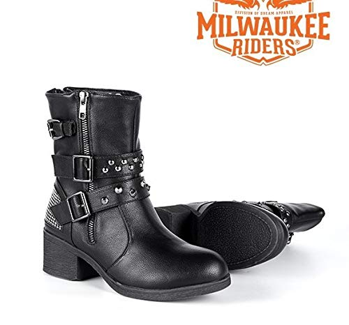 2 Womens Boot - Milwaukee Riders Motorcycle Womens Zippered Two Buckles Studed Harley Boots (9) Blk